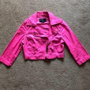 Neon pink crop jacket